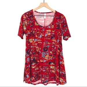 LuLaRoe Red Yellow Blue Floral Folk Art Perfect T
